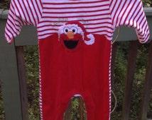 Elmo's World ~ Infants Red Elmo Santa Jumper, Onesie Size 12 Months ~ Babies 1St Christmas, Dress Up, Onesie