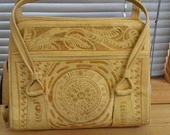 Vintage Avelar Tooled Leather Handbag
