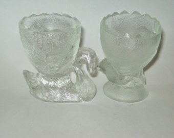 Vintage Pressed Glass Swan Chick Egg Cup Holder Clear Spring Easter Figure Figurine Glassware Figural Chicken Bird