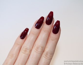 Burgundy coffin nails, Nail designs, Nail art, Nails, Stiletto nails, Acrylic nails, coffin nails, Fake nails, False nails
