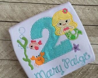 Mermaid under the sea Glitter Birthday Applique shirt, birthday shirt, sea applique shirt, mermaid birthday shirt