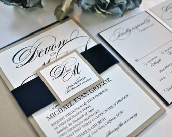 Navy Blue and Gold Wedding Invitation- New Classic (NOT A SAMPLE LISTING) Colors/wording/materials Customizable