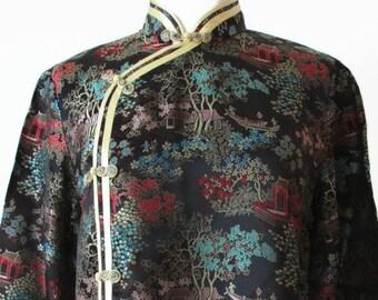 Stunning vintage 70s traditional satin chinese cheongsam qi'pao vintage blouse tunic top, size MEDIUM M