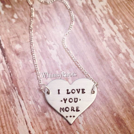 Heart Necklace /Love you more heart necklace/gift for her/ personalized and hand stamped.