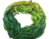 SALE New! Sari Silk Ribbon, 100g , Yellow/Lime/Jade green