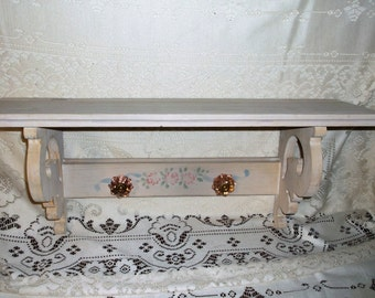 Vintage Whitewashed Wall Shelf Vintage Wooden Shelf with Glass Hooks