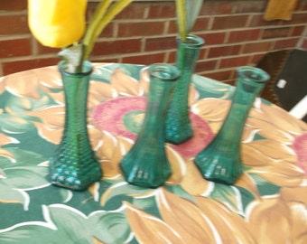 Four Vintage Teal Bud Vases