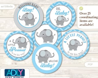 Boy Elephant Cupcake Toppers for Baby Shower Printable DIY, favor tags, circles, It's a Boy, Chevron - ao130bs0