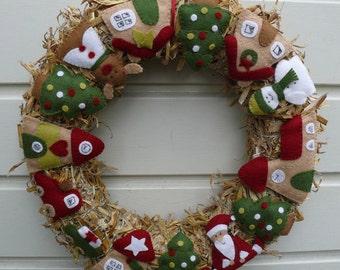 Christmas Wreath - DIY kit without straw wreath
