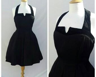 1950s Black Dress, Party Dress,Halterneck,  Evening Dress,  UK size 12, US size 10.