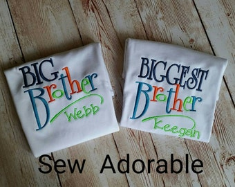 Big and Biggest Brother Shirts, bug brother, biggest brother, brother set shirts