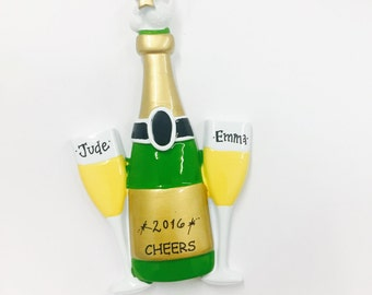 FREE SHIPPING Champagne Personalized Christmas Ornament / Champagne Ornament / Wedding Ornament / Congratulations / Happy New Year
