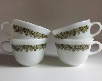 Set of 4 Vintage Pyrex Spring Blossom Milk Glass Teacups