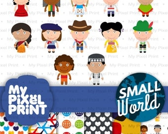 Cute Children of the World Digital Clipart, Ethnic Kids, It's a Small World, Ethnics, Costumes, Around the World, Teaching, Travel PNG