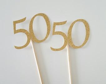 50th Anniversary, Anniversary, 50th Wedding Anniversary, 50th Centerpiece, Anniversary Centerpiece, Gold Glitter Centerpiece