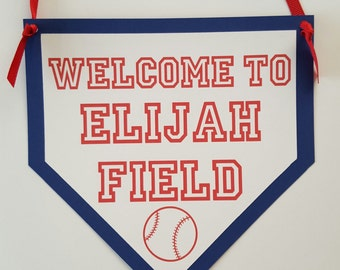 Baseball door sign, home plate sign, baseball birthday, baseball shower, baseball party, baseball sign, baseball