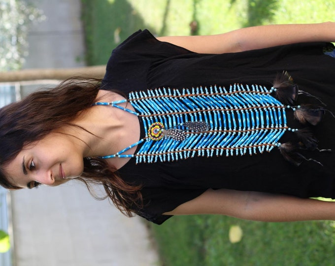 N417- Price Reduced! - Handmade Bone Chokers / Necklace blue