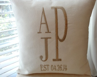 monogrammed wedding/anniversary pillow - personalized gift