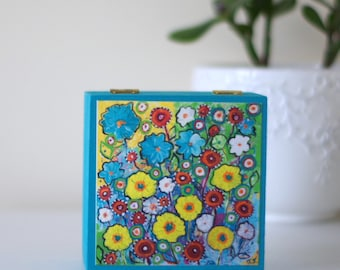 Turquoise Jewellery Box, Flowers Wooden Box, Floral Storage Box, Yellow Flowers Print, Yellow Flowers Jewellery Box, Flowers Decorative Box