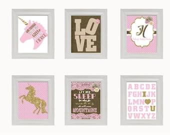 Kids Wall Art Print, Unicorn Nursery Decor Unicorn Horse  art print baby shower gift Pink Gold Burlap (6) 8x10