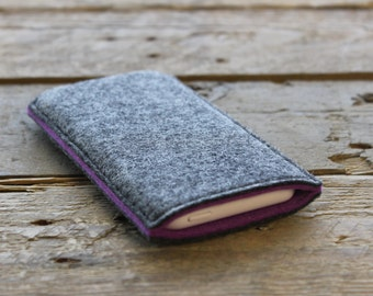 iPhone Sleeve / iPhone Cover / iPhone Case in Mottled Dark Grey and Purple 100% Wool Felt