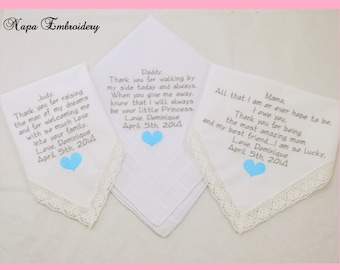 Set of 3 Embroidered Wedding Hankerchiefs Gifts Personalized Handkerchiefs Father of the Bride Mother of the Bride Mother of the Groom