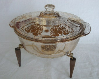 Vintage 2 Quart Signed Georges Briard Gold Plated Fire King Casserole with Chaffing Stand