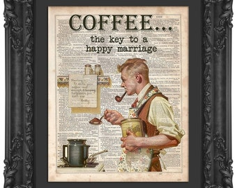 Norman Rockwell Coffee Print, Dictionary Print, Dictionary Art, Coffee Print, Coffee Decor, Coffee Art, Vintage Print, Coffee, Art Print