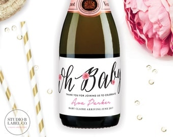 Oh Baby Mini Champagne Labels - Baby Shower Favors - Champagne Bottle - Printable Baby Sprinkle Decorations - Label Stickers