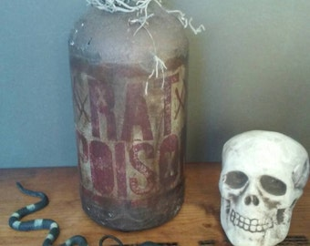Handmade Poison Bottle Rat Poison Mad Scientist Labratory Halloween Handpainted One of a Kind