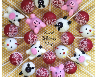 24 Farm Animal & Red Sprinkle-topped Cake Pops - Cow, Pig, Chicken, Sheep for Barn party, John Deere birthday, baby shower, 4H, Old McDonald