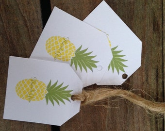 Pineapple Rustic Thank You tags Welcome Hospitality white yellow green wedding favor guest bags, gift tag, small Handmade stamped