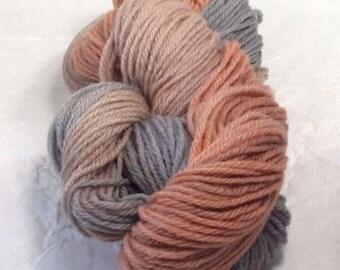 Antique Amber Wool Yarn Worsted Weight  Superwash Wool Yarn Hand Dyed  Multi Colored Variegated Pastel Gray, Pastel Amber Pastel Brown