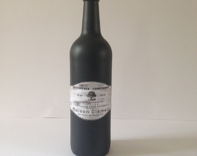 Black decorative wine bottle, Home decor. Decorative Bottle ,Home Decor , Wine bottle