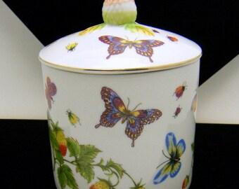 Lenwile Ardalt Butterfly Strawberry Lidded Jar Sugar Bowl Candy Dish
