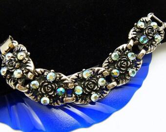 Chunky Vintage Pale Gold Tone Rhinestone Bracelet Rose Motif