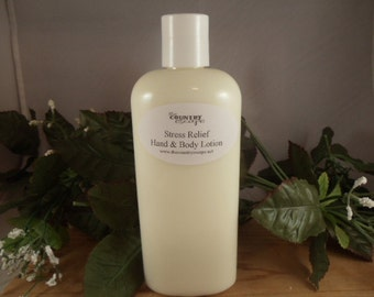 Stress Relief Essential Oils Scented Hand and Body Lotion- Rich and Creamy -Super Moisturizing w/Jojoba Oil-Shea Butter