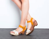 Wooden clogs - SALE 50% OFF - Yellow clogs Sandals - White furry wooden clogs - Ankle strap sandals - Handmade by ImeldaShoes