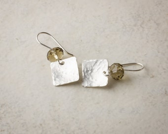Sterling-Silver Dangle Earrings Featuring Hammered Squares Cut-Crystal Cushions in Smokey Quartz