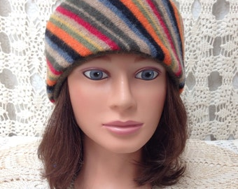 Wool headband-Beautiful upcycled-recycled multi color striped felted wool headband ear warmer-made from sweaters