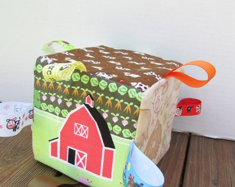 Down on the Farm Baby Toy - Sensory Ribbon Tag  Cube - Can be personalized