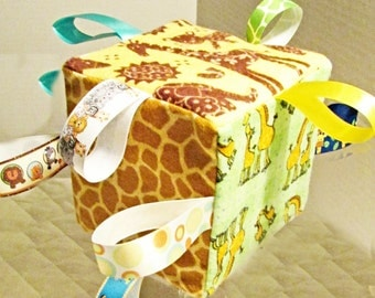 Happy Giraffe Baby Toy 2- Sensory Ribbon Tag  Cube  Can be Personalized