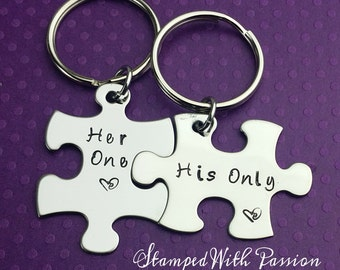 Couples Puzzle Piece Key chain set - Long distance - Handstamped couples gift - Boyfriend Girlfriend