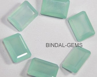 15 Piece Lot Aqua Chalcedony Octagon Shape Faceted Cut Loose Gemstone