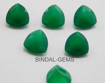 15 Pieces Amazing Lot Green Onyx Trillion Shape Faceted Cut Gemstone For Jewelry