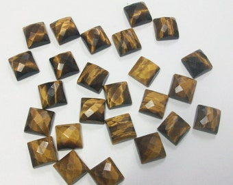 25 Pieces Lot Fine Quality Golden Tiger Eye Square Shape Checker Cut Gemstone