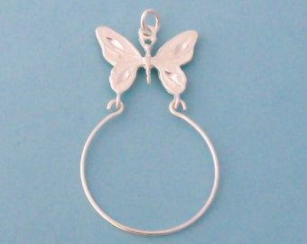 Sterling Silver Butterfly Charm Holder Pendant