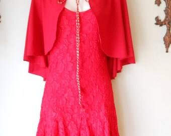 1990s Upcycled Red Lace Devil Dress With Cape and Horns Small