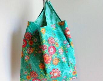 Shopping bag, reusable grocery bag sz lg, gift for her, cotton grocery bag, Amy Butler fabric, BoHo shopping bag, market bag.