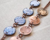 Bright Blue and White Penny Bracelet with Adjustable Antique Copper Chain. The Blue and White China Penny Jewelry Design by WildFire Studio.